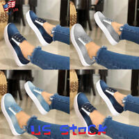 Fashion Women Athletic Loafers Casual Denim Flat Ladies Comfort Slip On Shoes US