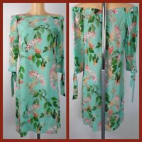 NEW Ex Wallis Green Floral Print Bardot Dress Summer Holiday Dress Size 10 - 18