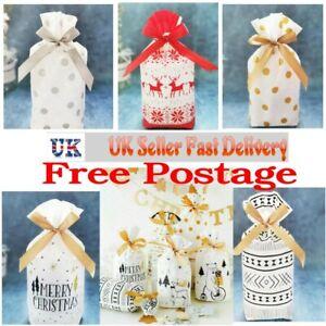UK New Christmas Sacks Reusable Drawstring Wrap Present Gift Party Bags Storage