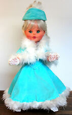 VTG ITALY *FURGA ANGELA TURQUOISE BLUE VELOUR WHITE FEATHER LACE GLOVES DOLL 15""