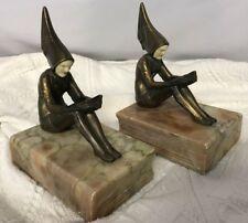 JB HIRSCH Gerdago PIXIE Metal/Marble Bookends Vintage Art Deco EXC Condition