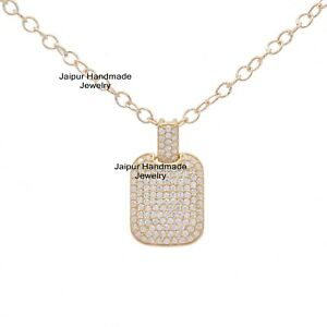 925 Silver Yellow Gold Cubic Zircon Dog Tag Pendant Layering Necklace Jewelry