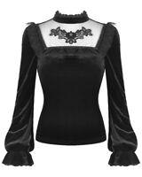 Dark In Love Womens Gothic Top Black Velvet Lace Dot Mesh Steampunk Victorian