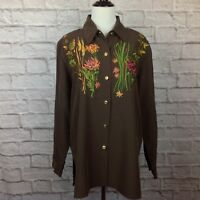 Bob Mackie Wearable Art Women Large Tunic Blouse Brown Embroidered Floral Silky