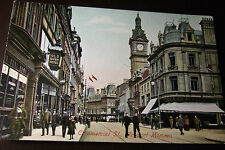 Commercial Street, Newport, old bush hotel, M.J.R Postcard, Monmouthshire. VGC