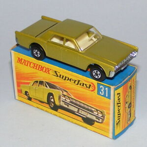 MATCHBOX SUPERFAST #31a LINCOLN CONTINENTAL RARE WIDE WHEELS NEAR MINT BOXED