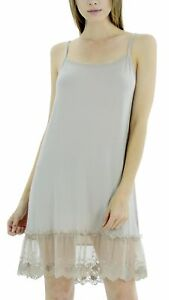 Women Lace Trim Modal Full Slip with Laced Neckline
