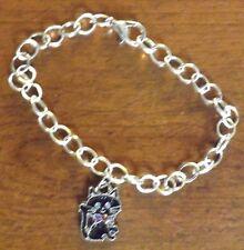 bracelet argenté 20 cm chat noir