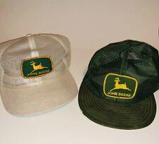 1685a1797db Lot of 2 Vintage JOHN DEERE Mesh Snapback Trucker Hats Caps Patch LOUISVILLE