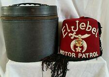 Vintage Mason Freemason Shriner Jeweled El Jebel Motor Patrol Fez Hat Cap + Case
