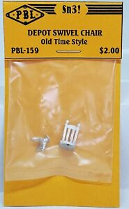 S Scale-Sn3-1/64-DEPOT SWIVEL CHAIR-Old Time Style-PBL-Unpainted-white metal