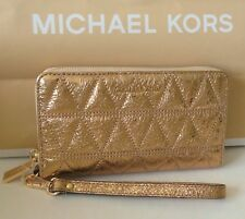 Michael Kors Large Flat Multi Function Phone Case Pale Gold Leather NWT