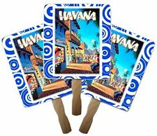 """Retro Style Hand Fan (abanico) with Wooden Handle (8 x 8"""") Havana Blue Pack of 3"""