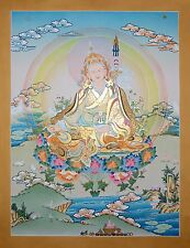 "26.25"" x 20.25"" Guru Rinpoche Tibetan Buddhist Thangka/Thanka Scroll Painting"