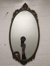 Vintage Ornate Gold Oval Mirror 69 X 33 cm