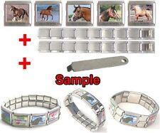 Quarter Horse Photo Mega Stainless Steel Italian Charms Bracelet + Tool HG57