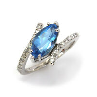 2.6 ctw Natural Blue Topaz & Diamond Solid 14k White Gold Bypass Cocktail Ring