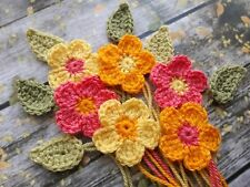 6 Crochet Summer Flowers & Leaves Crafts Cards Scrapbooking Applique