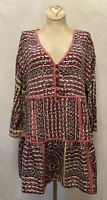 New! Small MAEVE Anthropologie Silk Boho Floral Flowy 3/4 Bell Sleeve Tunic Top