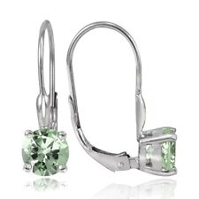 Sterling Silver 1.5ct TGW Green Amethyst 6mm Round Leverback Earrings