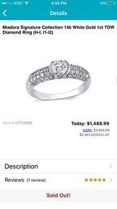 Miadora Signature 14k White Gold 1ct TDW Diamond Ring (H-I, I1-I2) $1489 Free sh