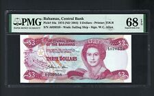 Bahamas 3 Dollars L.1974(1984) P44a Uncirculated Graded 68