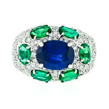 18k Gold 6.93ct GIA & AGL Burma Sapphire Emerald Diamond Cocktail Statement Ring
