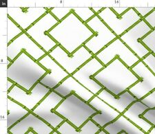 Green Bamboo Trellis Geometric Chinoiserie Fabric Printed by Spoonflower Bty