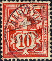 "SUISSE / SWITZERLAND / SCHWEIZ - 1889 "" AARBERG "" (Bern) CDS on Mi.54 10c red"