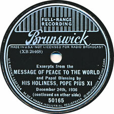 78 RPM - Pius XI - Message of Peace to the World and Papal Blessing - 24.12.1936