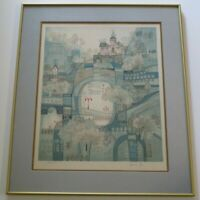 HESHI YU LITHOGRAPH SIGNED LIMITED ABSTRACT EXPRESSIONISM URBAN MODERNISM RARE