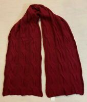 Women Polo Ralph Lauren Lambswool Cableknit Cable Sweater Pony Wool Scarf WINE