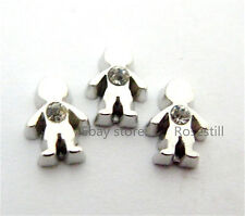 10PC FC431 White Rhineston Boy Floating charms For Glass Memory Floating Locket
