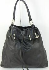 Lucky Brand Large Leather Black Drawstring Handbag Bag Purse Distressed Hardware