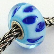 Authentic Trollbeads Murano Glass Blue Bluish Shadow Bead Charm 61153, New