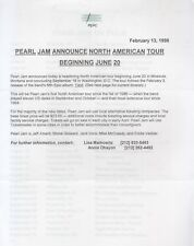 pearl jam press release for north american tour 1998
