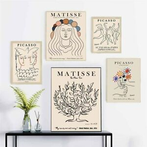 Abstract Woman Lines Matisse Bird Tree Nordic Posters And Prints Canvas Painting