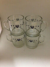 4 Anchor Hocking Blue Hearts Clear Glass Mugs    Corelle Pattern