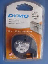 Dymo LetraTag Metallic Silver Plastic Refill Tape Cartridges Dymo Letra Tag NEW