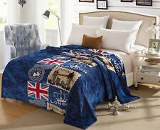 Thin England British Style Flag London Tower Bridge Flannel Blanket Throw 60X80""