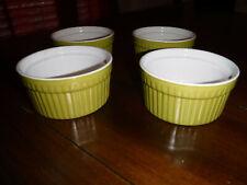 SET 4 World Market Mini Ramekins 8 Oz. Green/ White Bakeware Souffle Brulee READ