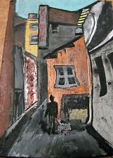"""A452      ORIGINAL ACRYLIC ART ACEO PAINTING BY LJH    """"SIDE STREET''"""