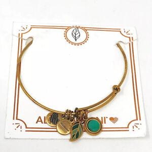 "Alex & Ani ""Grounded"" Gold-Tone Turquoise/Teal Enamel Leaf Charm Bracelet"