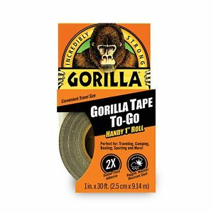 """Gorilla Duct Tape To-Go, 1"""" x 30 ft, Black Double-Thick Adhesive"""