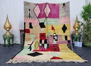"Moroccan Handmade Boujaad Rug 5'4""x7'5"" Patchwork Berber Yellow Pink Wool Rug"