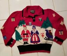 80s Berek Blue 100% Wool Mrs&Mr Santa Claus Ugly Christmas Sweater - szSmall