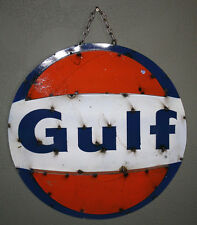 Metal GULF Sign Gas Oil Garage Man Cave Home Decor HOT ROD Recycled Gasoline TIN