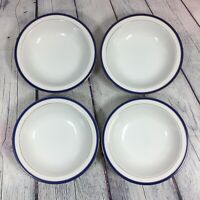 "4 Soup Cereal Bowls White and Blue with Gold Trim - 7.5"" / Kitchen Dishes"