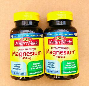 Nature Made Extra Strength Magnesium 400mg 60 Softgels Each (Pack of 2) Ex 06/23