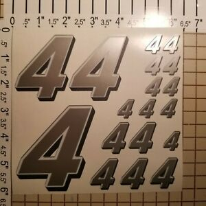 Silver w/White / Black #4's  Racing Numbers Vinyl Decal Sheet 1/10- 1/12 Traxxas
